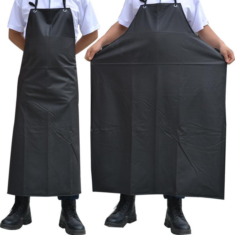 Yağ geçirmez su geçirmez önlükler kolsuz pişirme erkekler önlükler mutfak Restoran Otel Yetişkin Şef Siyah PVC önlük Uzun Kadın Y200103