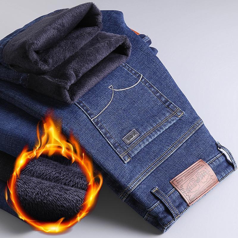 Зима Мужская Теплые джинсы 2020 New Classic Стиль Бизнес Повседневный сгущает Упругие Джинсовые брюки Мужской Марка брюки Синий Черный
