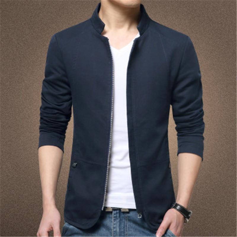 Hommes populaire décontracté mince veste vêtements mode tendance tendue col fer à glissière mince pour vêtements d'extérieur hiver hiver masculin style mince couleur solide manteaux