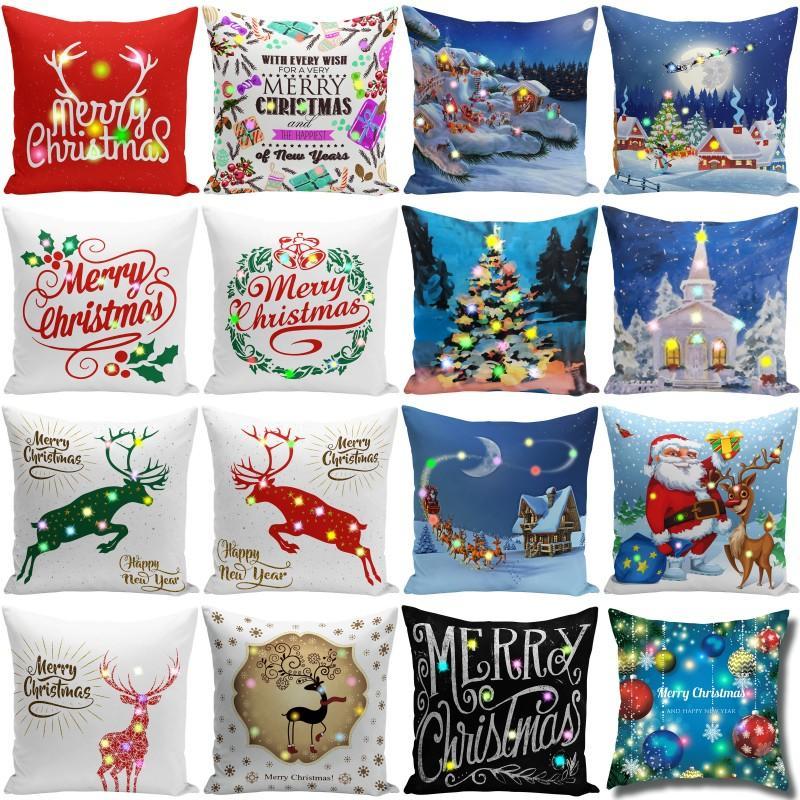 عيد الميلاد LED وسادة القضية 45 * 45CM القطيفة الغلاف الرئيسية صوفا الديكور رمي كيس المخدة المضاء غطاء وسادة الإبداعية