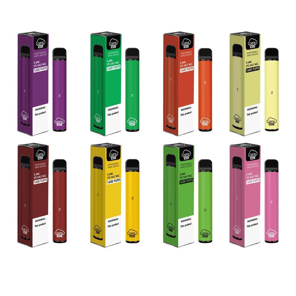 100% auténtico dispositivo Airis Max desechable Pod Kit 950mAh cartucho de 5,6 ml de la batería 1600 Puffs Vape Vacía Pen Bar Plus libre de DHL