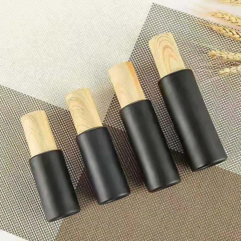 Boş Cam Pompa Şişeleri Doldurulabilir Siyah Buzlu Cam Losyon Uçucu Yağ Sprey Şişesi Woodgrain Plastik Kapaklı 20 ml - 80ml 64 G2