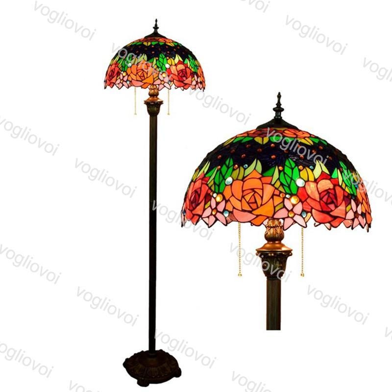 Zemin Lambaları Avrupa Retro Gül Çiçek Yeşil Yaprak Çok Renkli Cam Çapı 40 cm 110-240 V Oturma Yemek Odası Yatak Odası Bar DHL