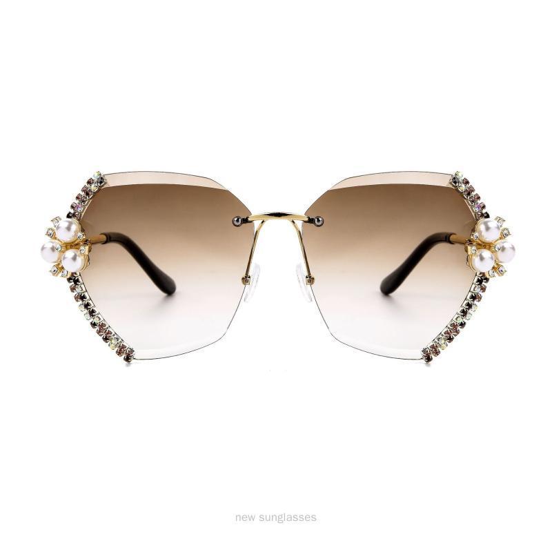 Cat For Fashion Sexy Shades Vintage Sunglasses Brand Woman Men Retro Sunglasses Women Frameless Brown Diamond NX Hkekn