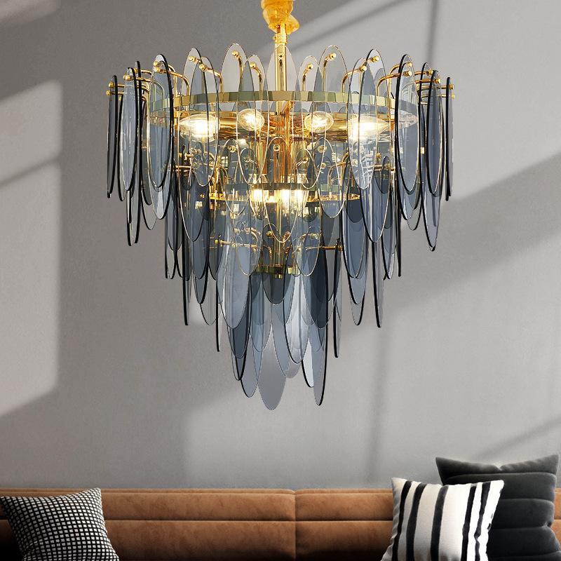 Moderna catena di loft illuminazione lampadario di lusso scalinata soggiorno pranzo Lampadari di vetro d'oro decorazione della casa lampadari