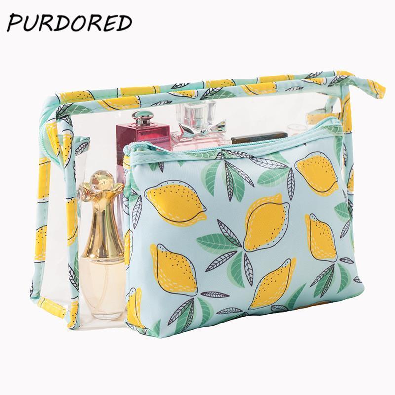 Сумка для хранения Cosmetic Clear Lemon PVC Travel Zip Женщины Водонепроницаемые напечатанные PCS / комплект Организатор TOTES Makeup Lock Purdored2 Bags VRCME