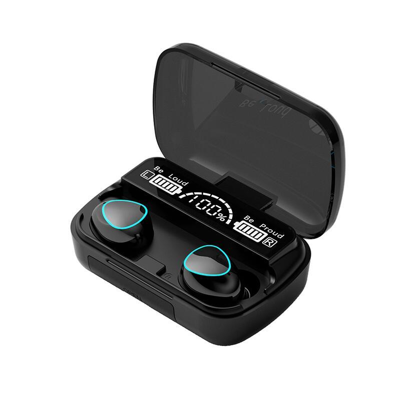 마이크 2000MAH F9 방수 M10 TWS 블루투스 이어폰 무선 헤드폰 스테레오 스포츠 무선 이어폰 터치 미니 이어폰
