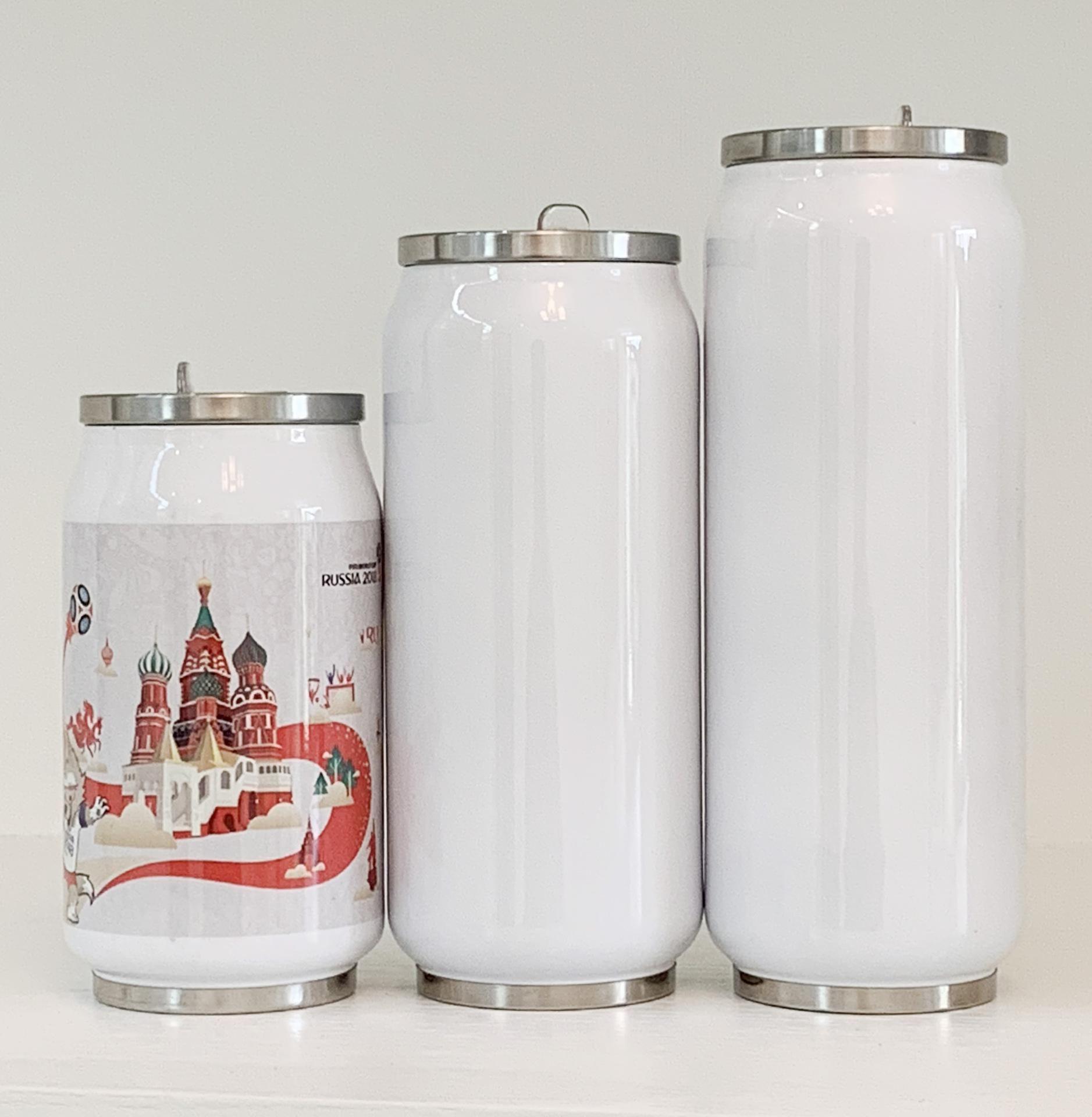 DIY 승화 콜라 캔 물병 보온병 이중 뚜껑 빈의 DHD2856와 절연 진공 텀블러 스테인리스 스틸을 벽으로 둘러싸인