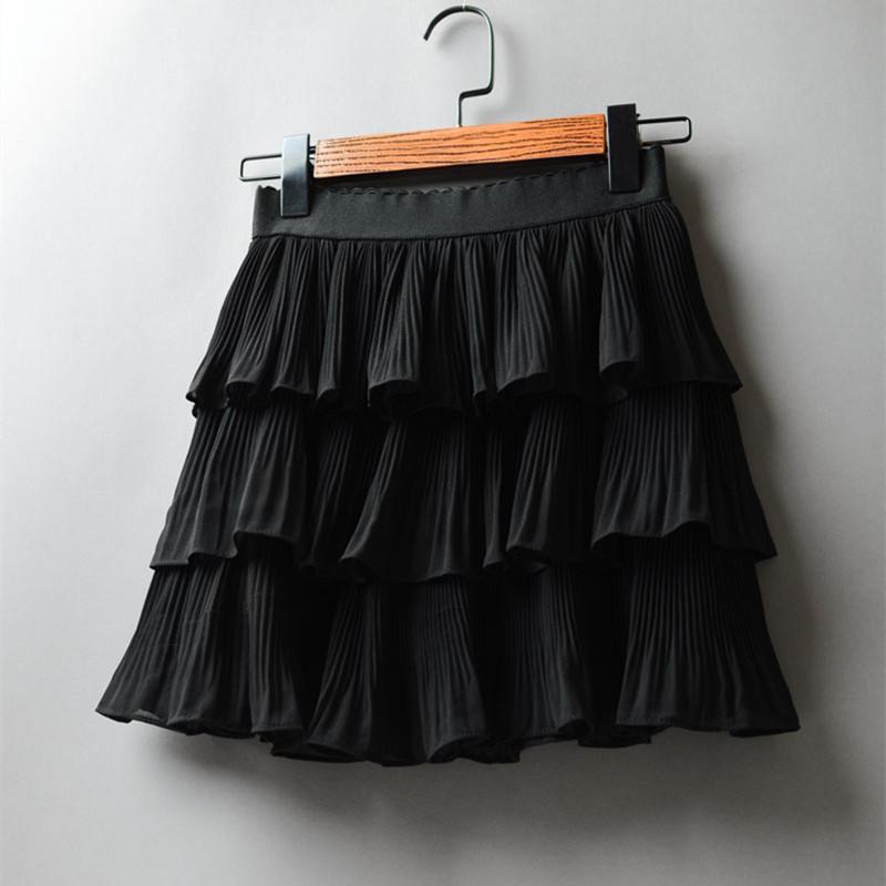 2020 летние женщины эластичность талии мини юбка дамы шифон юбка дамы повседневные торт юбки черный белый Femme плиссированный