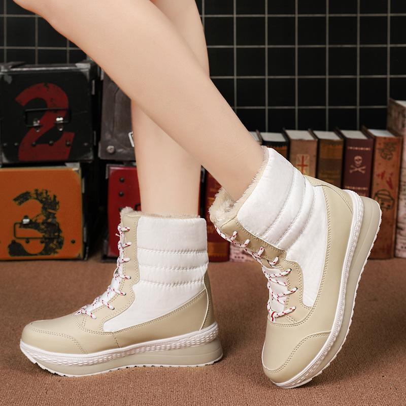 2020 New hiver plus de velours épais haut-top femmes Bottes neige dames coton Chaussures Grande Taille 42
