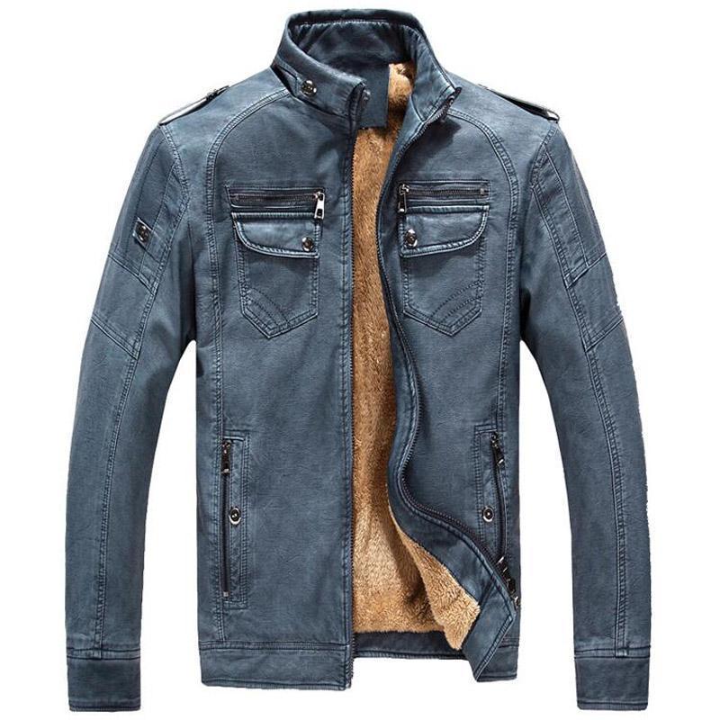 Chaqueta de cuero de la PU de la piel de piel de los hombres de la piel de la piel de los hombres abrigos tibia para hombre chaquetas casuales del soporte del collar de la motocicleta Outwear