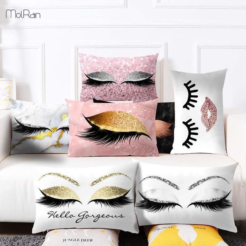 Coussin Creative Cils velours cadeau Couverture souple Rectangle pour coussins Canapé charme Cils Imprimer Taie Dropshipp