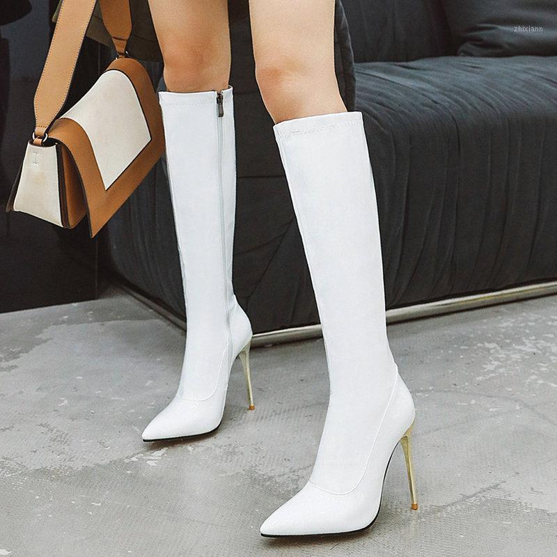 Women Boots Sexy Super High Heel Knee High Boots Fashion Patent Leather Long Pointed Toe Zipper Autumn Winter Woman1