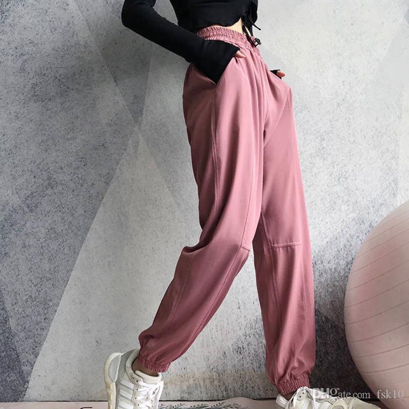 2020 yeni spor pantolon kadın gevşek pantolon kiriş ayakları gündelik yüksek bel pantolon spor egzersiz dans yoga pantolon çalışan