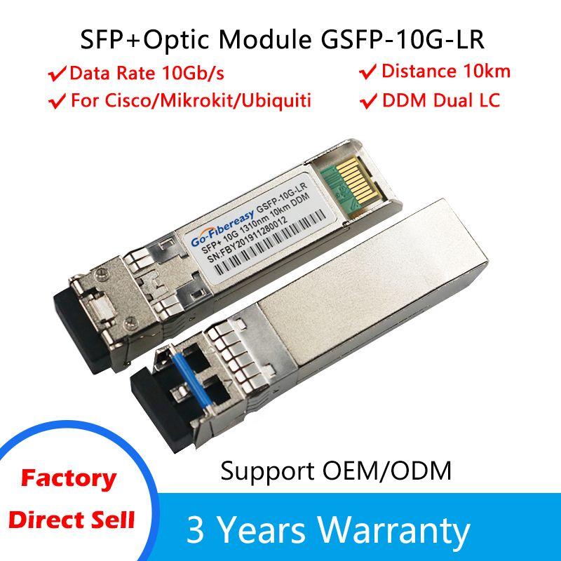 Module SFP 10GBASE SINGLEMODE 1310NM Module de fibre optique SFP 10km 10km Compatible pour le module de commutateur de fibre CISCO / MIKROTIK / ZYXEL SFP LC