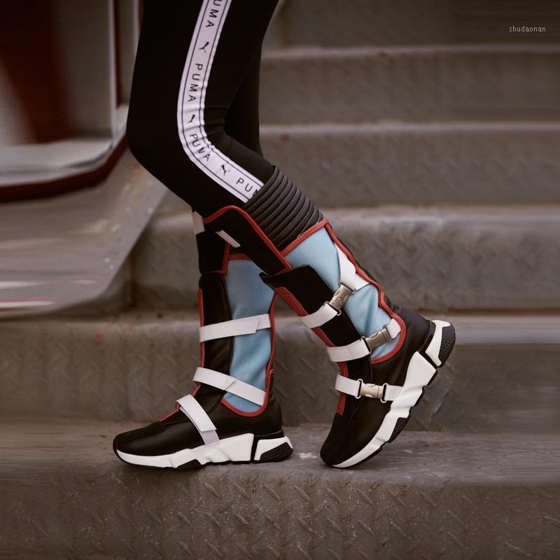 Çizmeler Prova Perfetto Eğlence Yüksek Kalite Hakiki Deri Kadın Uyluk Karışık Renkler Yuvarlak Ayak Slip-On Sneaker 20211