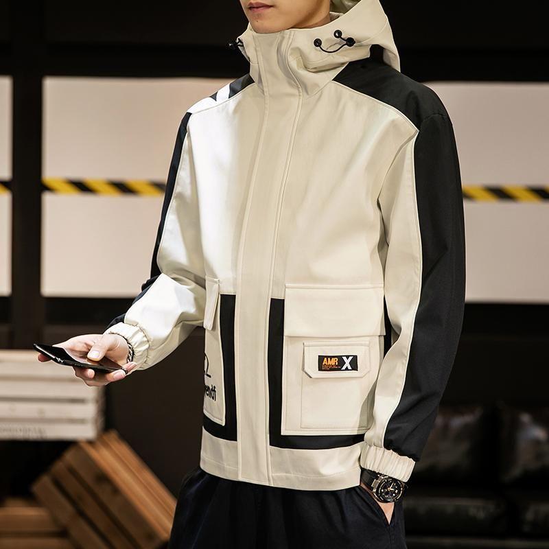 Новый стиль Мода куртки мужские пиджаки весна осень одежда высокого качества куртки мужчин с Hat карман на молнии Повседневная куртки Мужчины