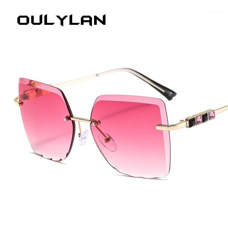 Lunettes de soleil à l'oulylan rétro sans chasse de soleil femmes femmes coupant lentille gradient lunettes de soleil lunettes de soleil diamant lunettes de soleil métallique de lunettes de soleil dames1
