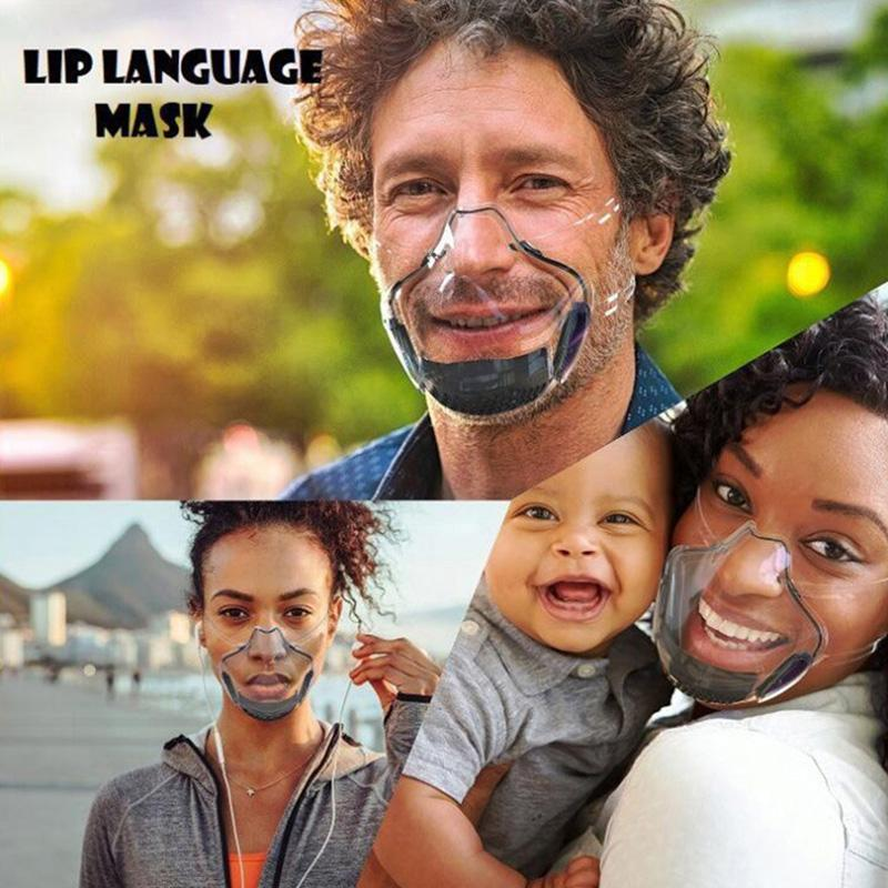Mascarilla plástica transparente transparente Lavable Facenas reutilizables Escudo facial Máscaras faciales Cubierta de boca transpirable Higiene 5 colores