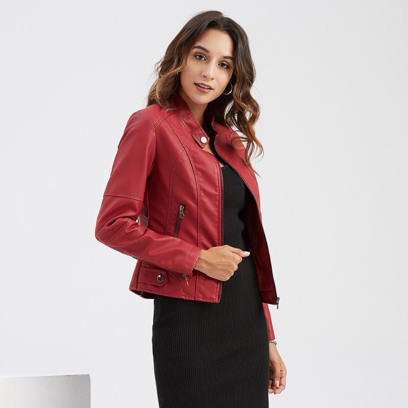 Damen Leder Faux Trodeam 2021 Mode Kurzfeder PU Jacke Frauen Vollarm Slim Mantel Reißverschluss Oansatz Jacken Tops