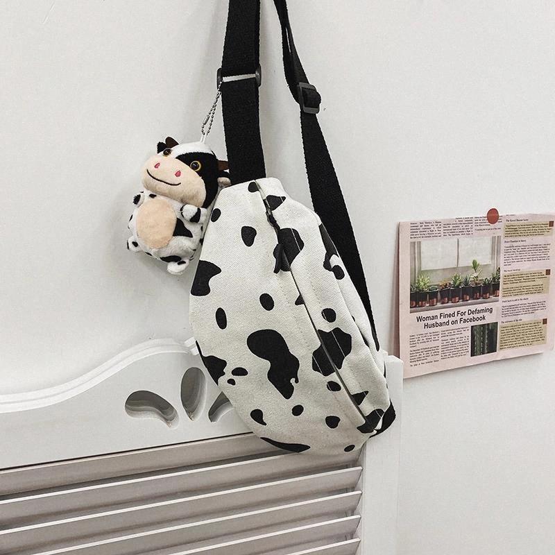 Venta caliente Vaca Imprimir lienzo Pequeño bolso de pecho ocio diseño original moda Mensajero bolsa de mujer hombro de mujer teléfono móvil monedero # zn9o