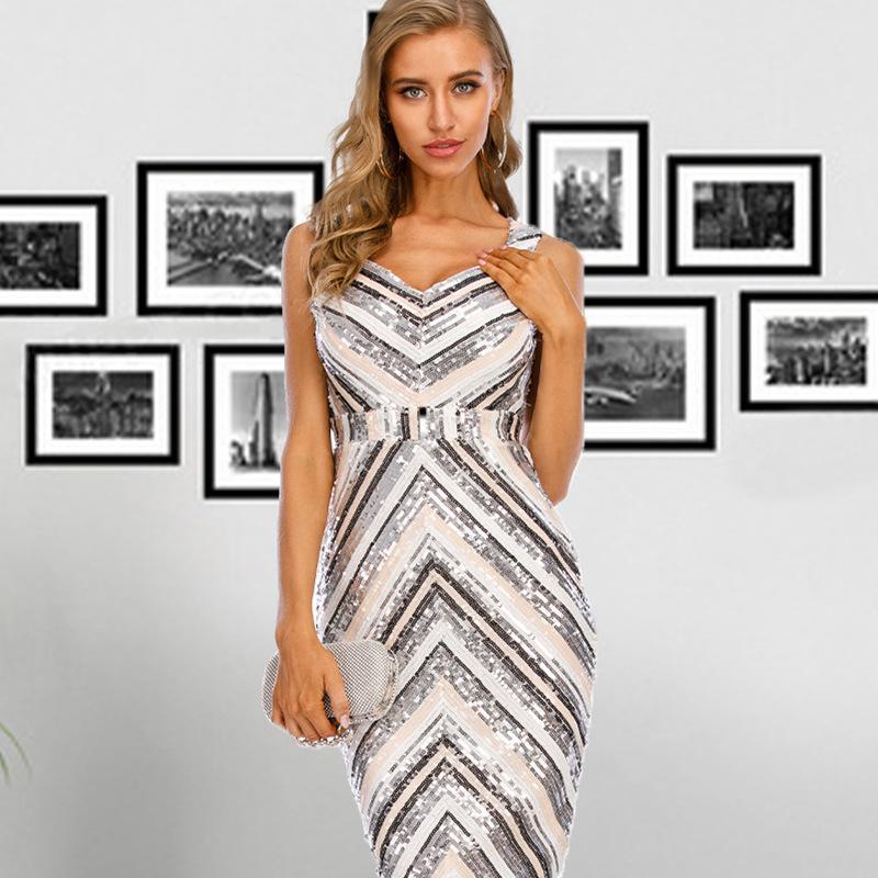 Лето 2020 глубокого V-образный вырез полосы сплайсинг пришивание элегантного случайные платья новой профессиональное платье подвязка сексуальных женщин