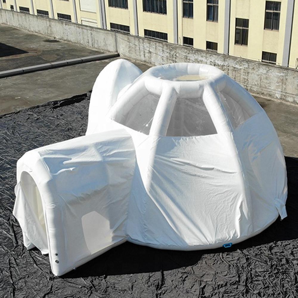 최신 돔 풍선 버블 호텔 텐트 상업 쇼 또는 방에 대 한 밀폐 튜브 구조와 흰색 캠핑 건물