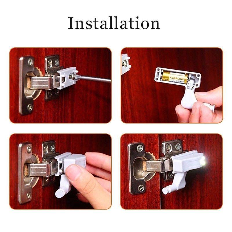 5pcs LED Inner dobradiça lâmpada em gabinete Night Light Universal Roupeiro Light Sensor Led Para Armário Closet Cozinha Quarto