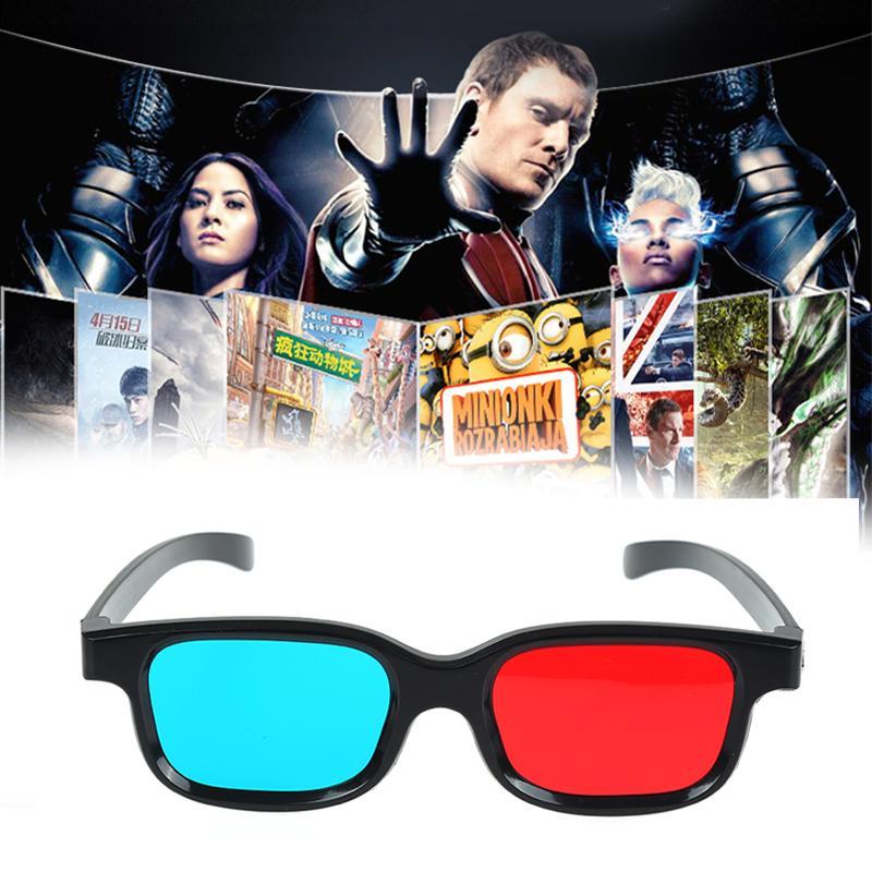 Nuevos gafas azules rojas 3D marco negro para Dimensional Anaglyph TV Película DVD juego Video Gafas 3D Gafas para proyector