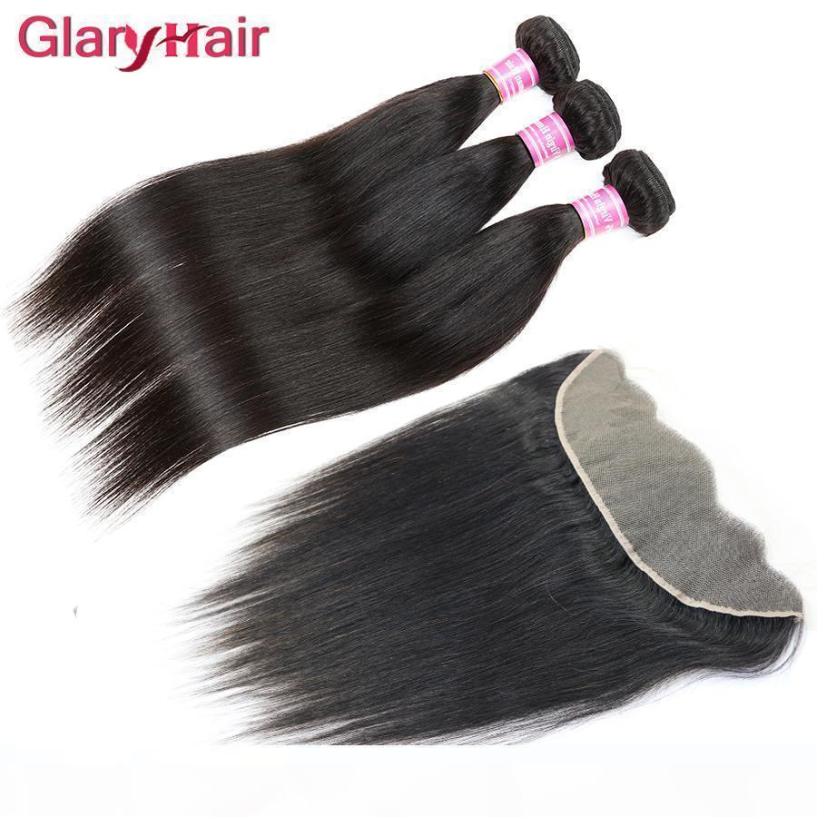 Top Selling non trasformato Brasili Brasili Vergini Vergini Bundles con 13x4 Chiusura frontale in pizzo Remy Human Hair Wefts Weaves Chiusura all'ingrosso