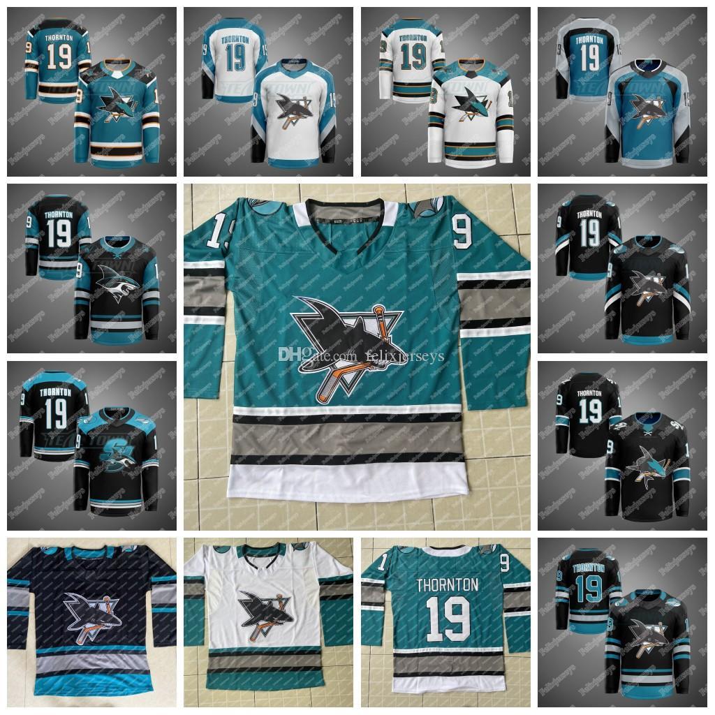 San Jose Sharks 30. Yıldönümü Isınma Formalar 12 Patrick Marleau Joe Thornton Brent Burns Erik Karlsson Logan Couture Evander Kane Jones