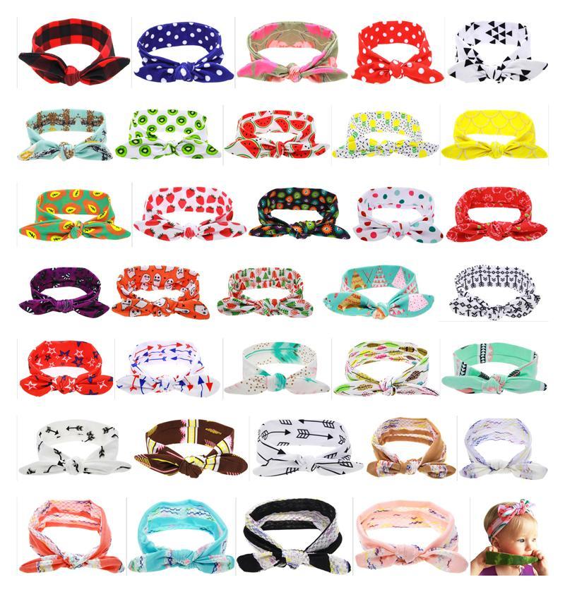 Baby Headbands Floral Cotton Headwear Girls Kids Turban Twist Knot Bunny Ear Print Dot Grid Bands Children Hair Accessories 34 Color KHA319