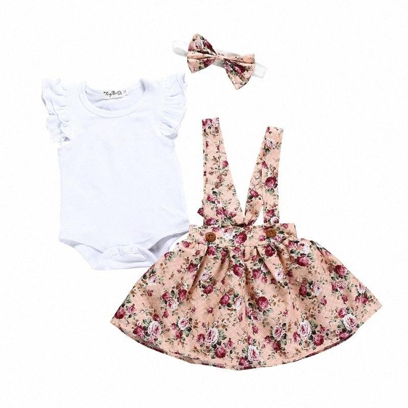 Baby Summer Clothing Newborn Infant Baby Girl Clothes Set White Romper+flower Overall Dress Headband Outfit Playsuit 0-24 Months i3us#