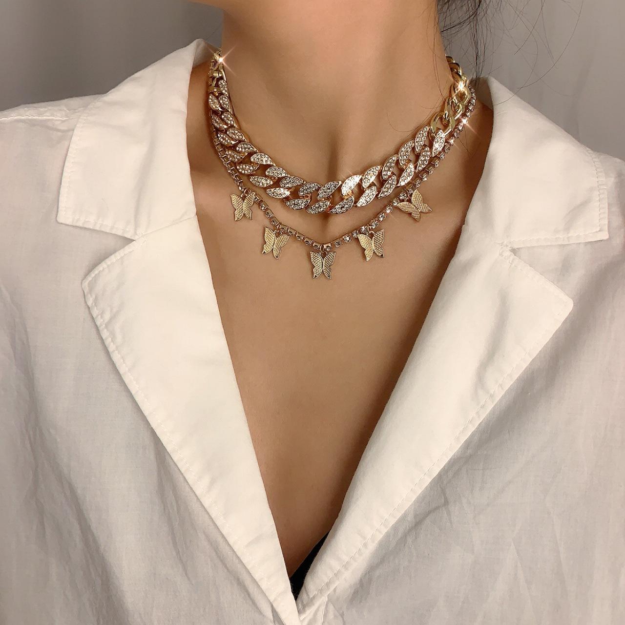 Punk Hip Hop Botón completo diamante cubana Collares pendientes Mujeres Moda Simplemente collar de la plata del oro Collares