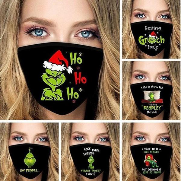 US на аксессуаров рождественские рождественские 3d печать косплей лицевые маски многоразовые моющиеся пыли доказательство милый мода маска для лица