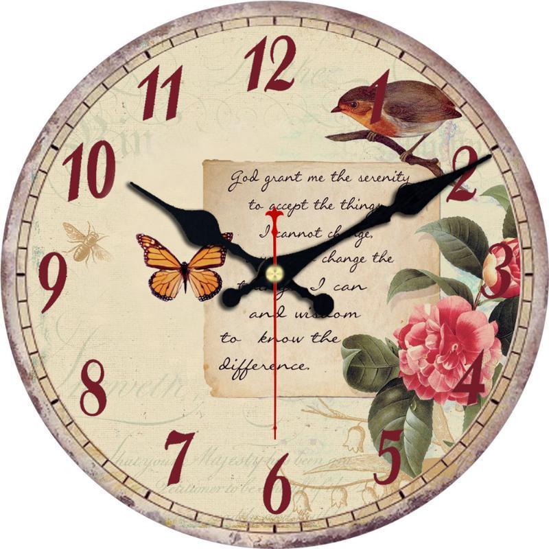 Relojes de pared de cocina de 12 pulgadas de madera, estilo de hoja de flor francés Grandes numerales árabes, sala de estar, arte, decorativo, antiguo, vendimia clásico