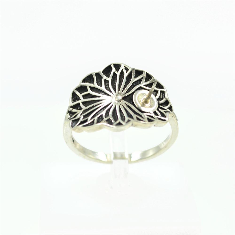 S 925 Sterling Silver Retro Lotus 7-10mm Pearl Beads Ring Mountings Gemstones Jewelry Diy Fashion Rings Mounts Settings