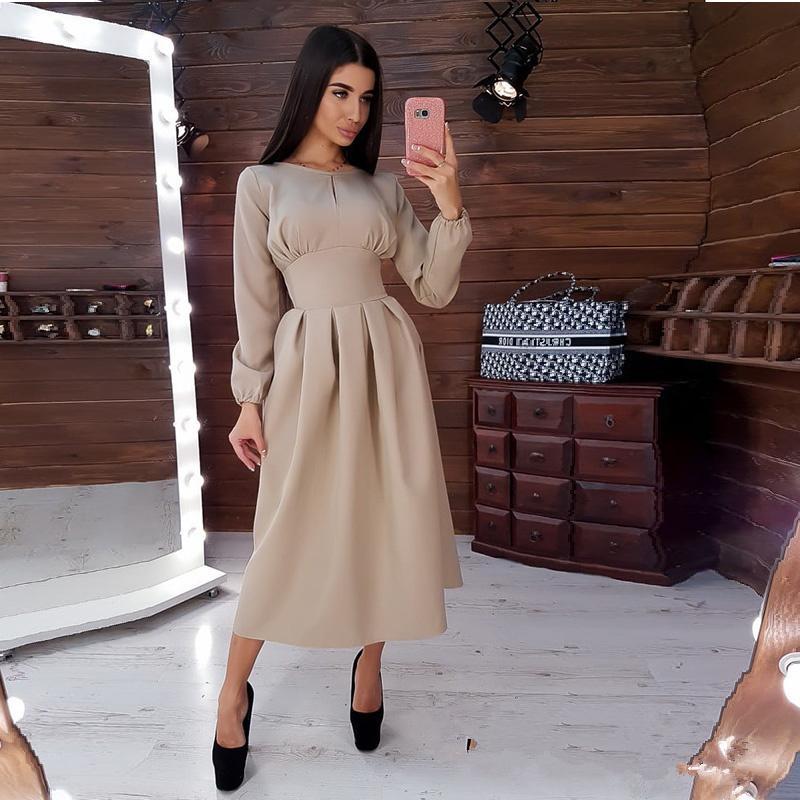 Mujeres vintage sólido a-line party media longitud o cuello manga larga elegante vestido otoño invierno nueva moda vestidos casuales yl23