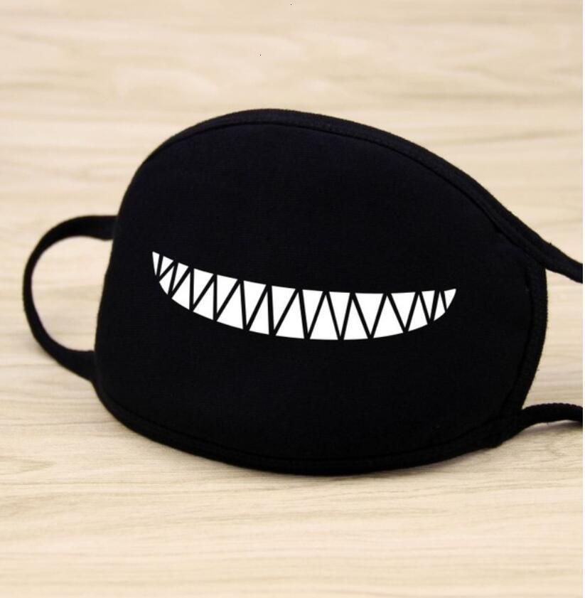 Зубы мультфильм наполовину маски унисекс черное смешное письмо аниме хлопок пыленепроницаемый рот маска лица