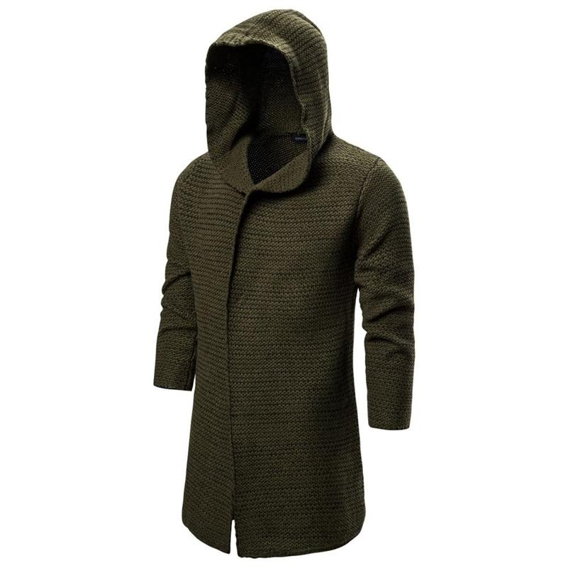 Pull Pull Solid Hommes Pulls à manches longues Outwear Homme Pulls avec chapeau 201225