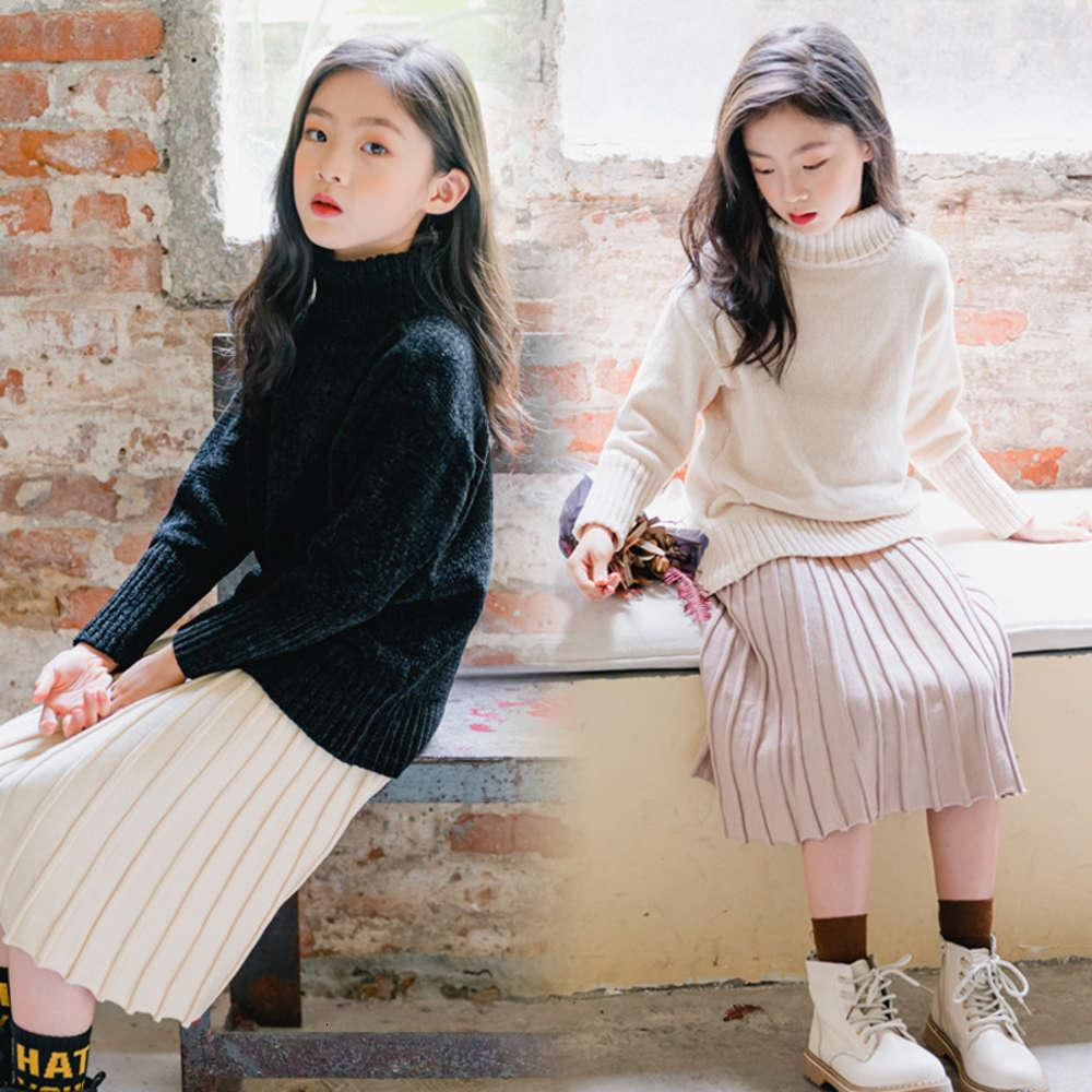 2020 ST198 Meninas Camisola Outono Inverno Coreano Alto Collar Veet de malha Long Sve Top SRG2MV3Q