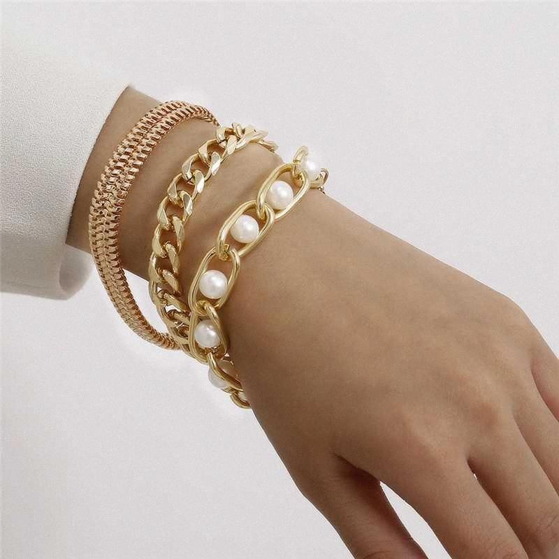Punk-Armband-Qualitäts der vorzüglichen neuen Handgelenk-Ketten-Schmucksache-Armband Chunky Heavy Metal-nachgemachte Perlen-Armband rosa Armbänder Plus Size bJyw #