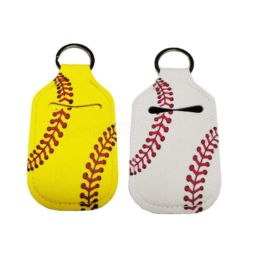 Cover Neoprene Portachiavi da baseball Softball Keychains Chapstick RTS For Mano Sanitizer Bottle Gel Holder Manicotto Catena chiave Riahym