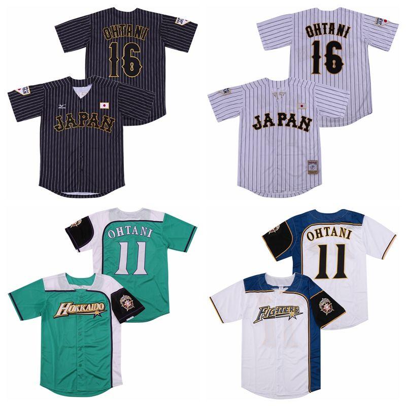Japón 16 Shohei Ohtani Jersey 11 hombres de béisbol Hokkaido Nippon Ham Fighters Todo cosido tela a rayas Enfriar Equipo Base de Whte verde Color Negro