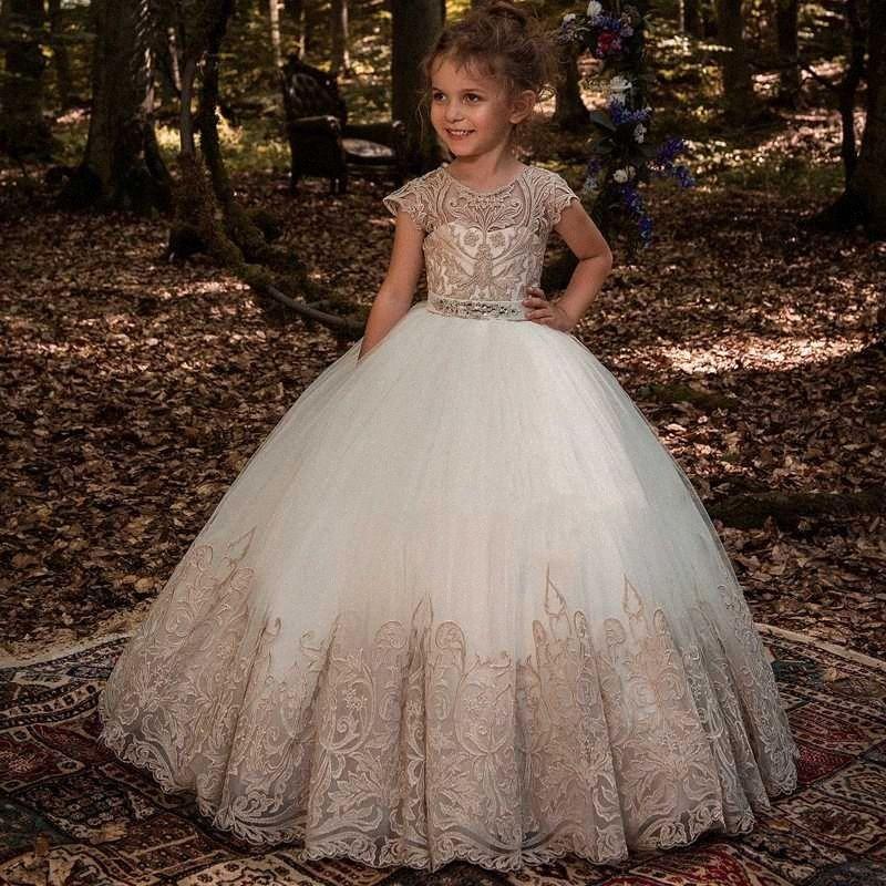 New Flower Girl Dresses Beading Sash Ball Gowns Lace Appliques Floor Length Flower Girls Princess Elegant Wedding Pageant Dresse xpQW#