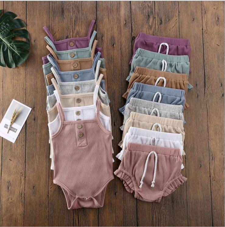 Diseños de bebés Conjuntos de ropa Infant Girls Suspender Tops Tops Shorts Trajes Sólidos Rayas Sumpsuits Ruffle Pants Trajes Niños Outfit Boutique LSK1791