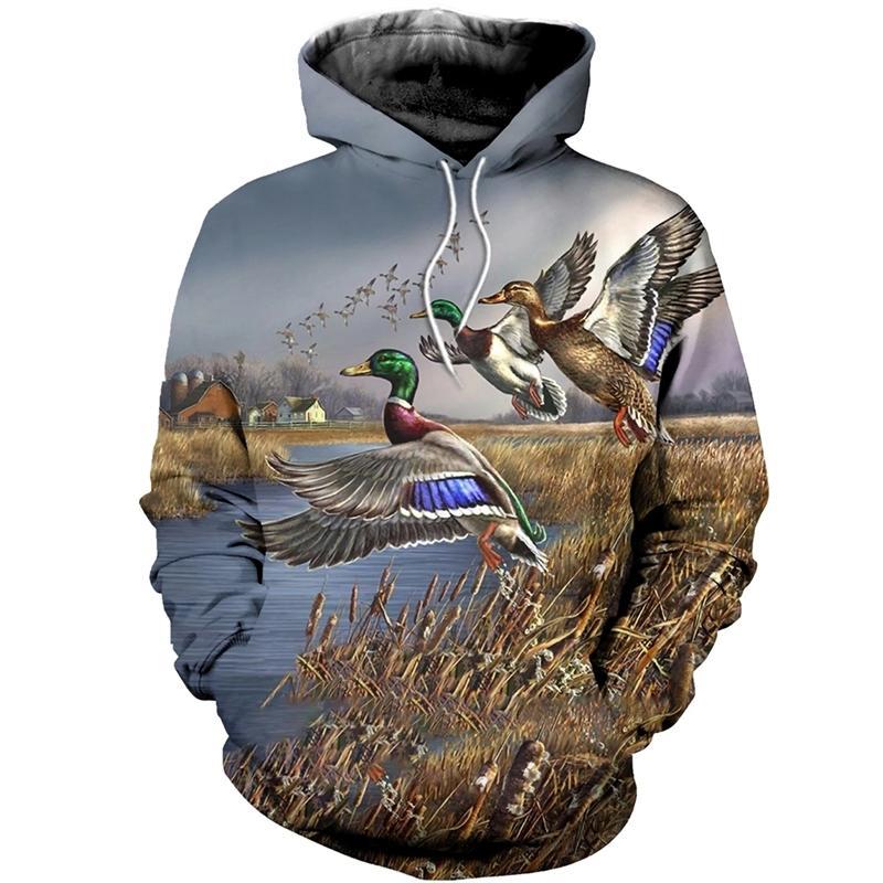 Горячая Мода Мужчины 3D Hoodie печати Охота Duck пиджаков Unisex Casual Hoody уличной оптом и в розницу 201019
