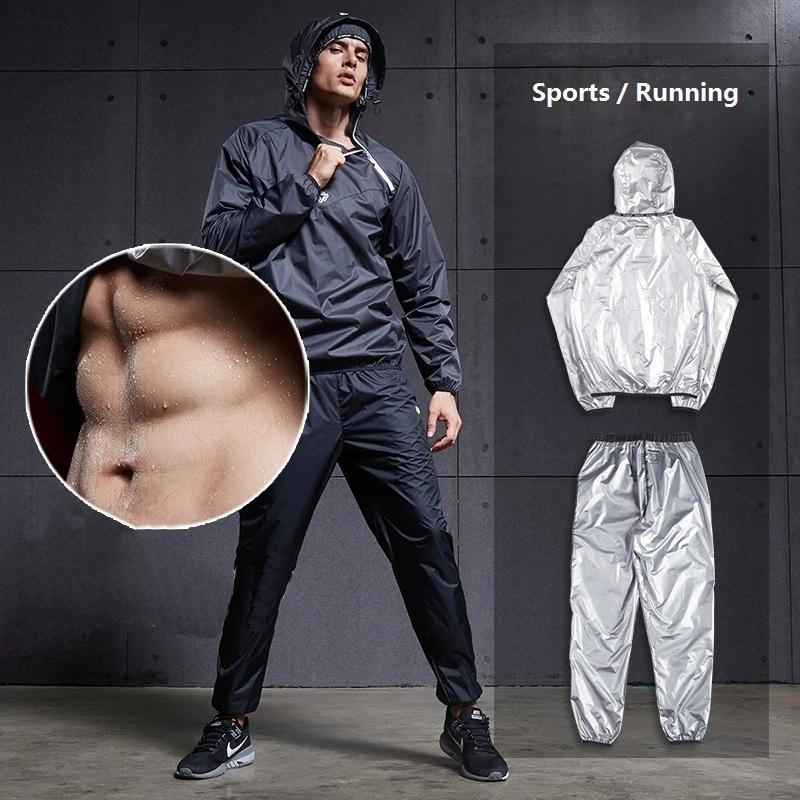Erkek Terleme Spor Setleri Sauna 2 adet Koşu Eğitim Setleri Adam Fitness Spor Gym Vücut Geliştirme Artı Boyutu için Adam Suits 201207