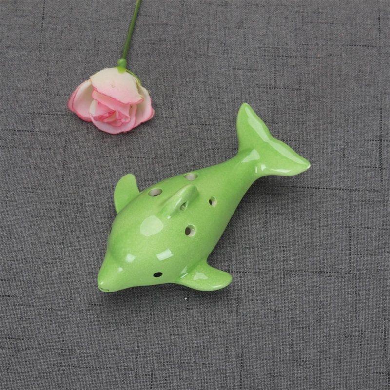 Cute 6 Hole Ceramic Dolphin Ocarina Educational Toy Musical Instrument Animal Shape Educational Music Flute Charm EEF3890