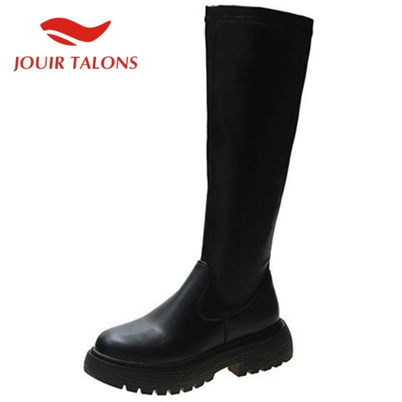 Jouir TALONS Marca Novo Design de Moda sapatos mulheres Deslizamento-na Rodada Toe plataforma sólida meio da perna Feminino Botas Outono